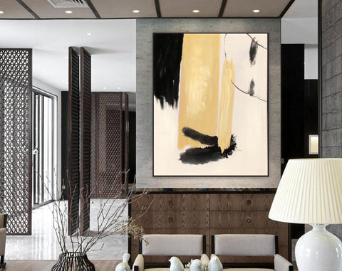 Image of Black white art paintings | Black white abstract painting F327-1