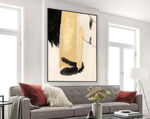 Image of Black white art paintings | Black white abstract painting F327-2