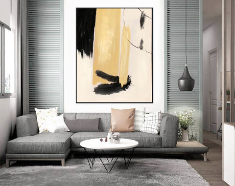 Image of Black white art paintings | Black white abstract painting F327-3