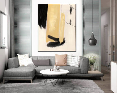 Black white art paintings | Black white abstract painting F327-3