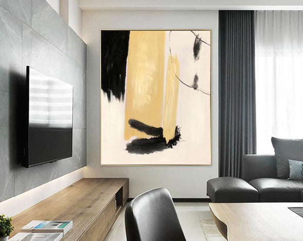 Black white art paintings | Black white abstract painting F327-4