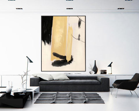 Image of Black white art paintings | Black white abstract painting F327-5