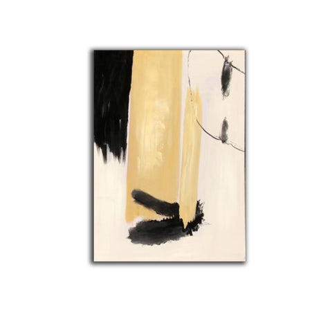 Image of Black white art paintings | Black white abstract painting F327-8