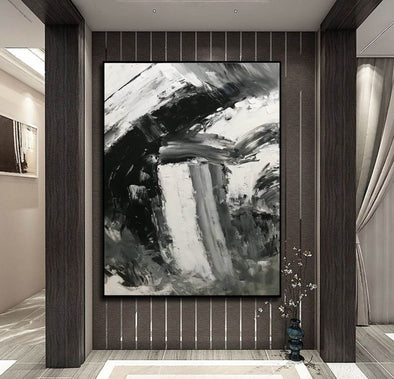 Black and white abstract art paintings | Black and white contemporary art F337-1