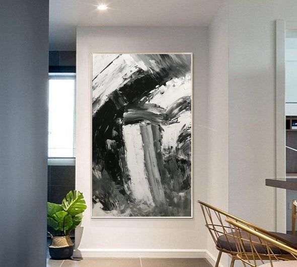 Black and white abstract art paintings | Black and white contemporary art F337-2