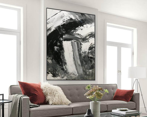 Black and white abstract art paintings | Black and white contemporary art F337-3