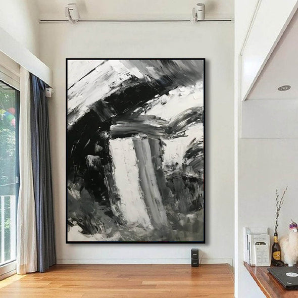 Black and white abstract art paintings | Black and white contemporary art F337-4