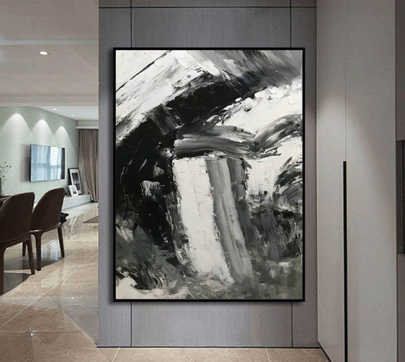 Black and white abstract art paintings | Black and white contemporary art F337-5