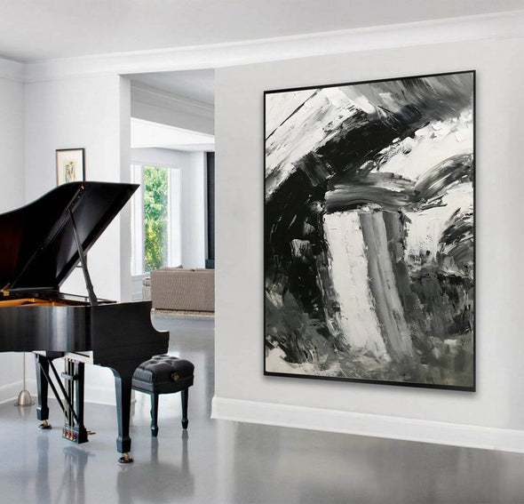 Black and white abstract art paintings | Black and white contemporary art F337-6