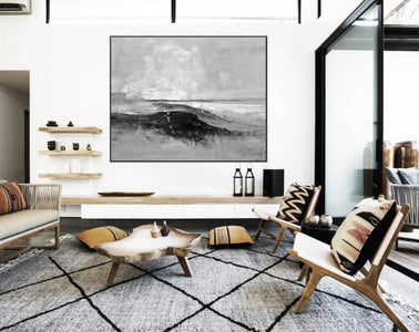 Abstract art white | Black white gray paintings F209-1