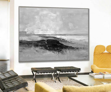Abstract art white | Black white gray paintings F209-2