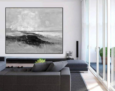 Abstract art white | Black white gray paintings F209-4