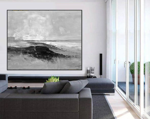 Gray and white painting | Art black and white painting F286-3