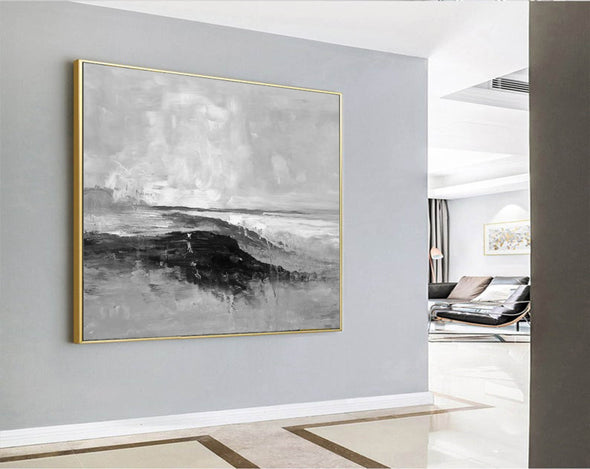 Abstract art white | Black white gray paintings F209-5