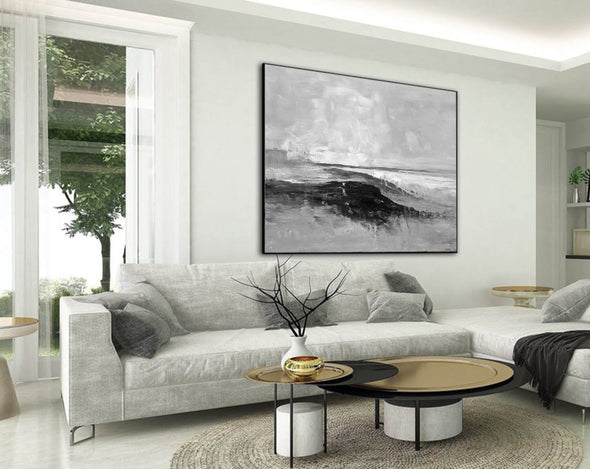 Abstract art white | Black white gray paintings F209-6