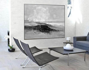 Abstract art white | Black white gray paintings F209-7