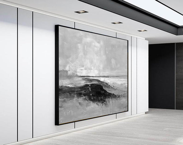Abstract art white | Black white gray paintings F209-8