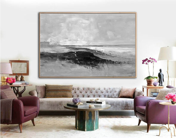 Abstract art white | Black white gray paintings F209-10