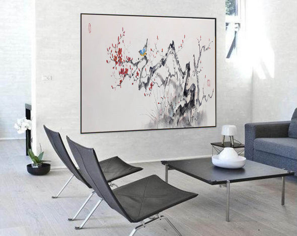 Abstract black white art | Large white painting F213-1