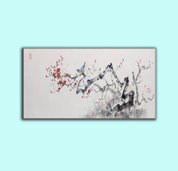 Abstract black white art | Large white painting F213-4