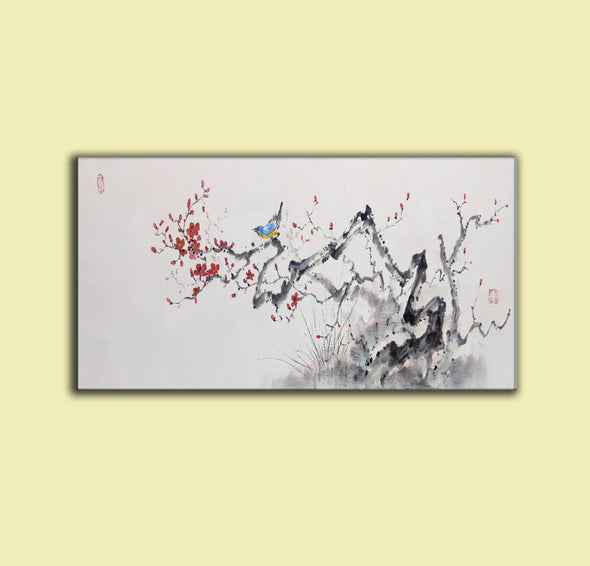 Abstract black white art | Large white painting F213-5