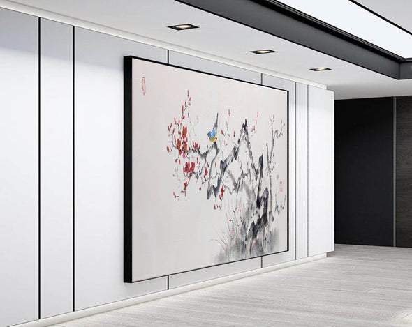 Abstract black white art | Large white painting F213-6