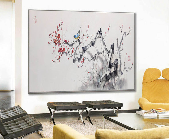 Abstract black white art | Large white painting F213