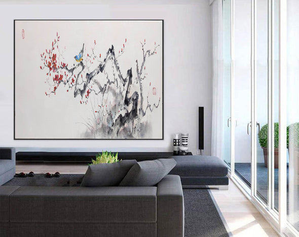 Abstract black white art | Large white painting F213-7