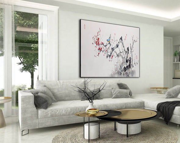 Abstract black white art | Large white painting F213-9