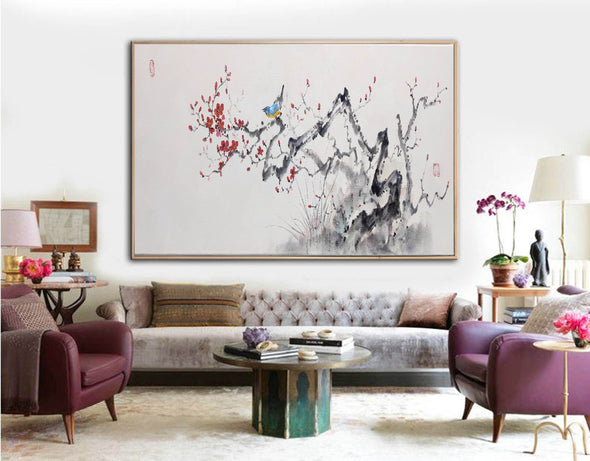 Abstract black white art | Large white painting F213-10