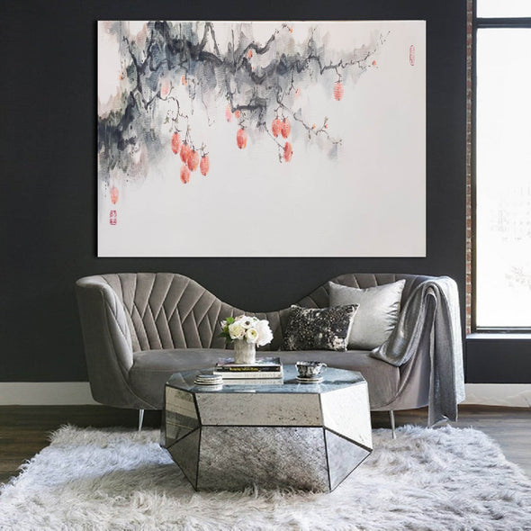 Large white wall art | Black grey and white paintings F293-7