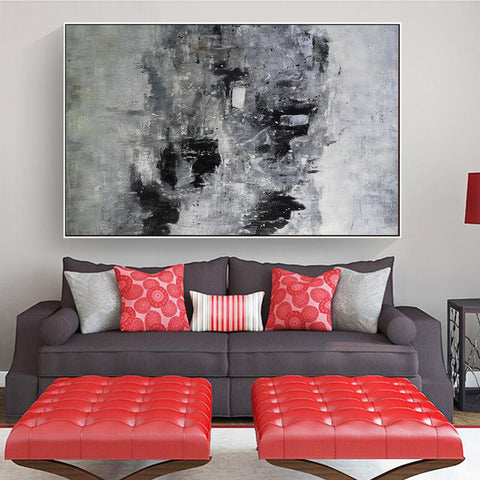 Image of Black and white paintings | Black and white art | Black and white abstract art F3-1