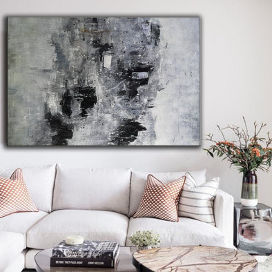 Large black and white wall art | Black and white abstract art paintings F3-2