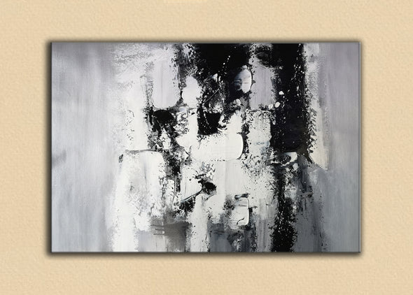 Painting art | Black and white canvas painting F4-6
