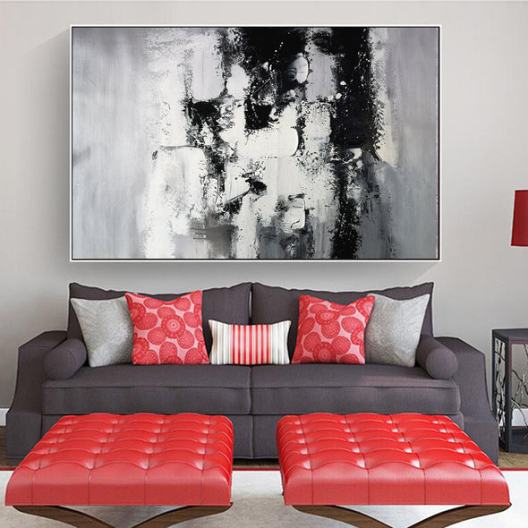 Painting art | Black and white canvas painting F4-8