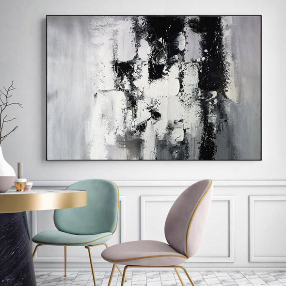 Painting art | Black and white canvas painting F4-2