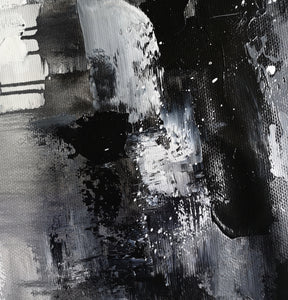 Black and white art paintings | White abstract painting | Black and white artwork for bedroom F5-3