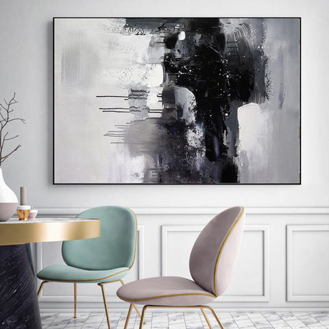 Image of Black and white art paintings | White abstract painting | Black and white artwork for bedroom F5-10