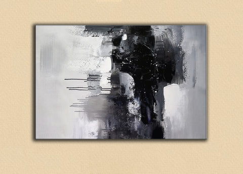 Image of Black and white art paintings | White abstract painting | Black and white artwork for bedroom F5-6