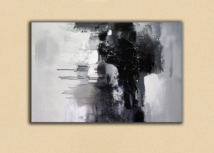 Black and white art paintings | White abstract painting | Black and white artwork for bedroom F5-6