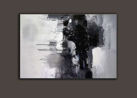 Image of Black and white art paintings | White abstract painting | Black and white artwork for bedroom F5-7