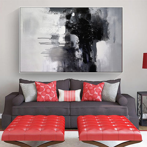 Image of Black and white art paintings | White abstract painting | Black and white artwork for bedroom F5-1