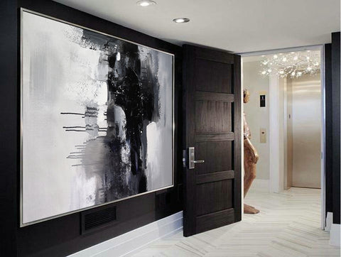 Image of Black and white art paintings | White abstract painting | Black and white artwork for bedroom F5-8