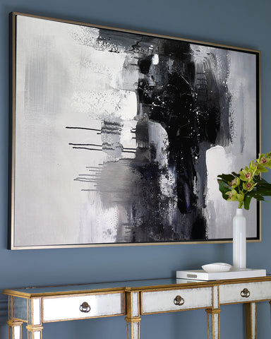 Image of Black and white art paintings | White abstract painting | Black and white artwork for bedroom F5-9