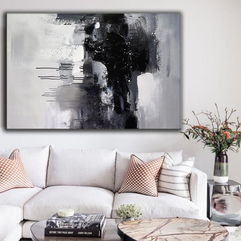 Image of Black and white art paintings | White abstract painting | Black and white artwork for bedroom F5-2