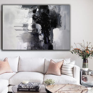 Black and white art paintings | White abstract painting | Black and white artwork for bedroom F5-2