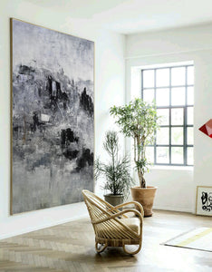 Black and white artwork for bedroom | Black and white acrylic painting | Black and white bedroom art F9-1