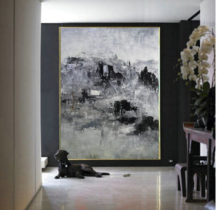 Black and white artwork for bedroom | Black and white acrylic painting | Black and white bedroom art F9-2