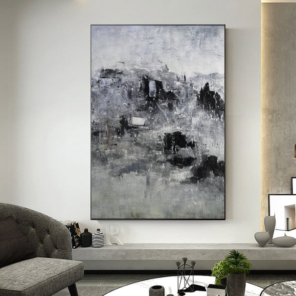 Black and white artwork for bedroom | Black and white acrylic painting | Black and white bedroom art F9-3