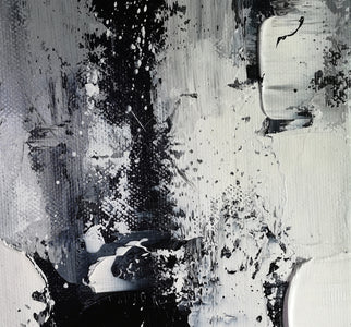 Painting art | Black and white canvas painting | Large black and white wall art F10-3